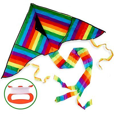 Rainbow Kite Huge Kids Premium Outdoor Colourful Summer Fun Toy Holiday Durable