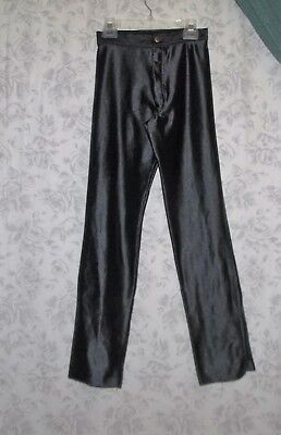 VTG Thick Shiny Black SPANDEX PANTS XS-S Rock Disco Punk 70s 80s HOT Vintage