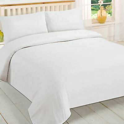 Brentfords Plain White Duvet Cover and Pillowcase Bedding Set Single Double King