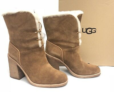 5b8101bc73a UGG AUSTRALIA JERENE Wool Lined Lace Up Boots Chestnut sizes 1018674 Stacked