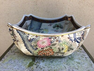 Vintage Antique Decorative Hand Painted Chinese Square Center Piece Bowl Signed