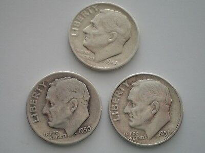 1949, 1950 & 1951 Nice Lot Of Three  Roosevelt Dimes