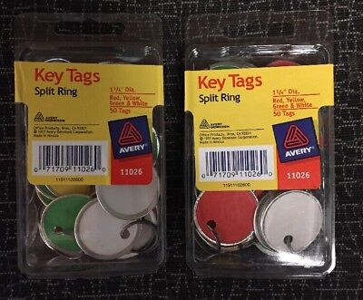 Key Tags with Split Ring, 1 1/4 dia, Assorted Colors, 50/Pack ( 2 PACKS ) !!!!!