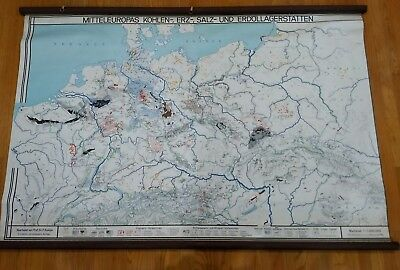 Rare vintage Central Europe geological map coal mineral salt oil deposits school