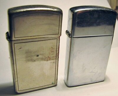 Lot of 2 Vintage ZIPPO Slim Cigarette Lighters