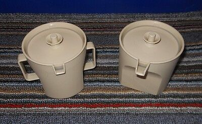 Vintage Tupperware Sugar #1415 & Creamer #1414 Almond Push Button Lids