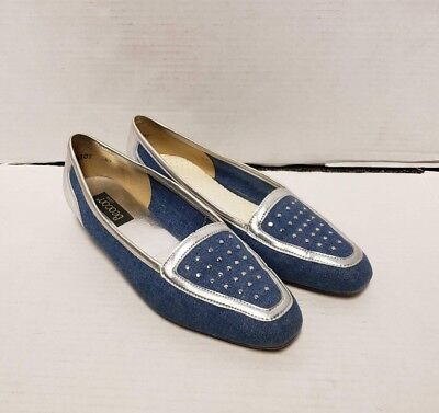 2f32c67f396 BEACON Jean and Silver Fabric Woman s Flats Size 7.5 M Slip On w  Dotted  Design