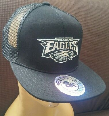75128186 Philadelphia Eagles Baseball Cap Black Flat Bill Mesh Back Adjustable Hat