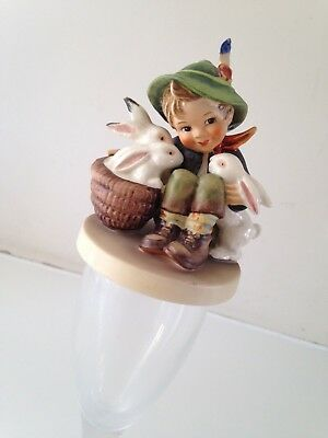 Vintage Ornamental Hummel Figurine small boy with rabbits 9cm high approx 58/0