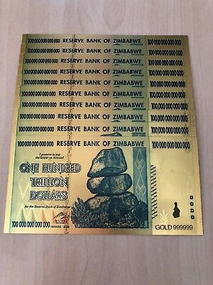 10 Zimbabwe 100 Trillion Dollar Novelty Gold Foil Bill Banknote Money Set