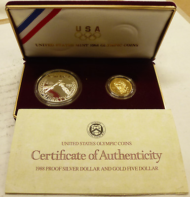 1988-S US Mint Olympic Commemorative 2-Coin Silver & Gold Proof Set w/ OGP