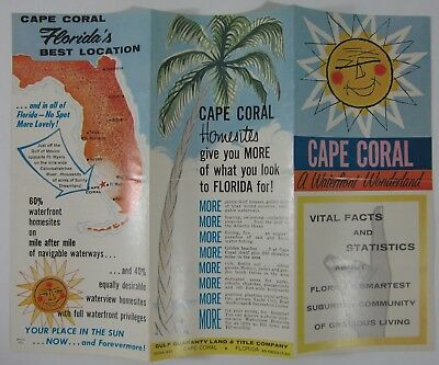 Cape Coral Florida Map.Vintage Cape Coral Florida Map Brochure Travel Guide Real Estate