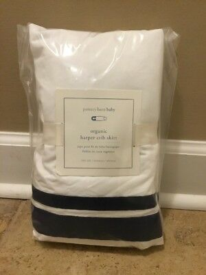 NEW Pottery Barn Baby ORGANIC Harper Crib Skirt WHITE + NAVY