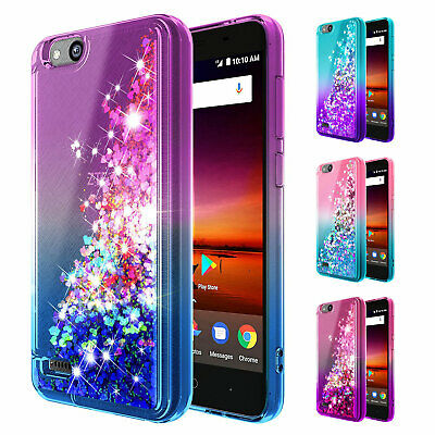 FOR ZTE ZFIVE G / ZFive C Case | Liquid Glitter Bling TPU Cover + Tempered  Glass