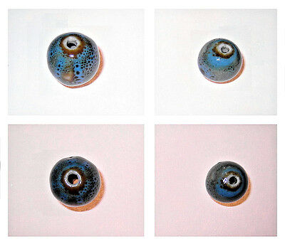One (1) Turquoise Blue Brown Ceramic Bead: Sphere Round 15mm, 12mm / Hole 3mm