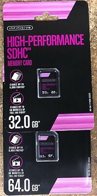 Infinitive 16GB, 32GB, 64GB High Performance SDHC Memory Card, New & Sealed