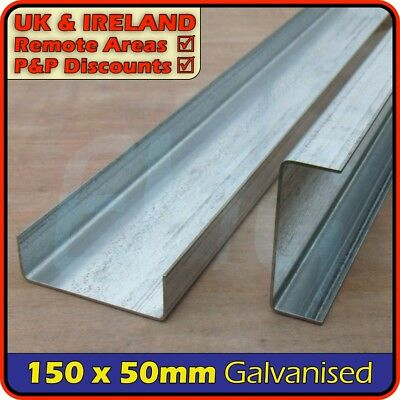 "Galvanised Steel Channel ║ 150 x 50 mm / 6"" x 2"" ║ C section iron,profile,runner"