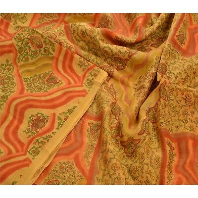 Tcw  Vintage 100% Pure Silk Saree Yellow Printed Sari Craft Ethnic Fabric