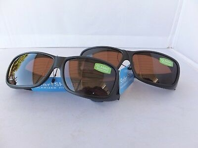 2 Pair Solar Shield Classic Polarized Sunglasses Fits Over Glasses, Size Large