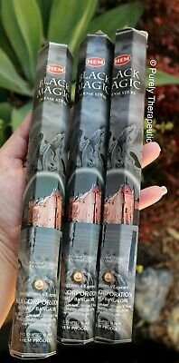 BLACK MAGIC INCENSE STICKS~Hem~Hexagonal Pk of 20 Sticks x 3 Wicca Smudge Pagan