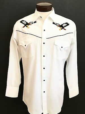 "Vintage ""ely"" Mens Embroidered Eagle White Western Shirt Size M"