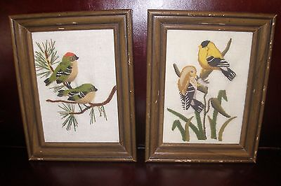 Vintage Goldfinch Birds Nesting Pair Crewel Needle Artist Framed Local Estate