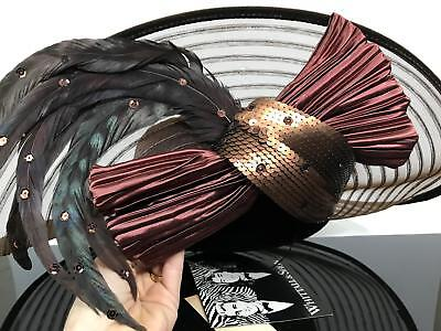 Vtg Designer WHITTALL & SHON Brown Feather Sheer Couture Derby Royal Wedding Hat