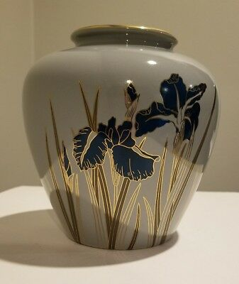 "Otagiri Royal Iris Japanese Porcelain Flower Vase 6""  Vintage Gold Accent"