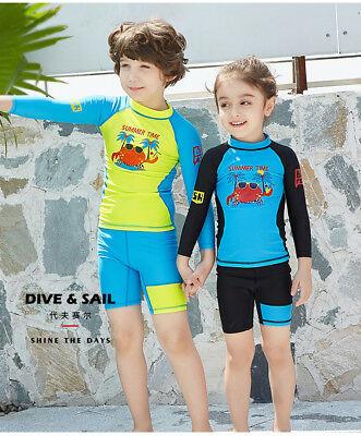 Girls and Boys Swimwear Long Sleeve Cute Swim Suits  3-10Y Kids Swimming Suit