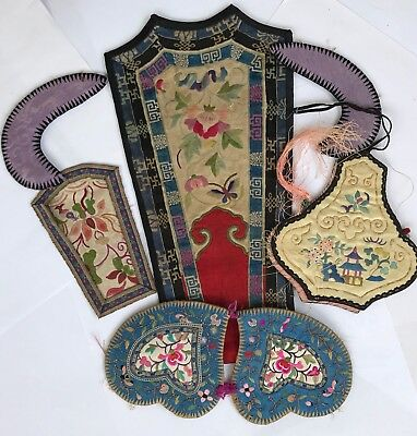 Lot Of Antique Qing Embrpidered Chinese Silk Badges Qing Dynasty Patches Badges