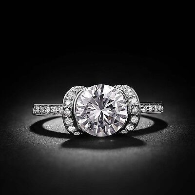 2 CT ROUND CUT SOLITAIRE DIAMOND ENGAGEMENT RING 14k WHITE GOLD OVER