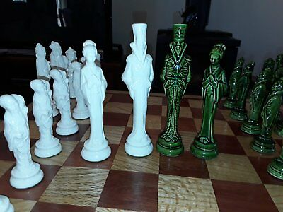Porcelain Chess Set Vintage With Handmade Wooden Board