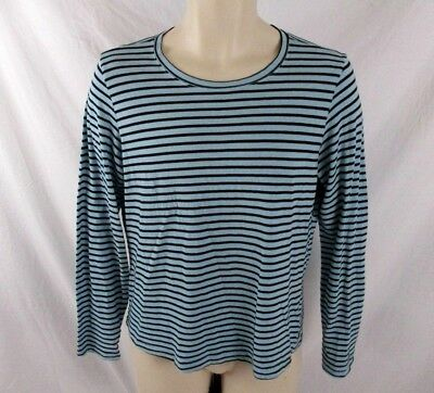 9108aea2aa2 Orvis Womens Shirt Blue Striped Size Small Pull Over Casual Long Sleeve  CB73V