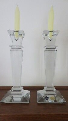 Pair Bohemia Crystal Candlestick 26Cm Obelisk Art Deco Candle Holder New