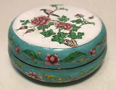 Vtg Chinese Export Painted Enamel Celadon Rose Copper Snuff Jar Box w/ Lid