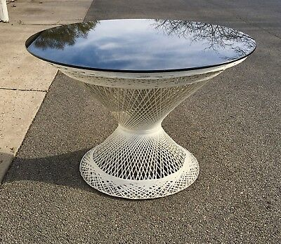 Russell Woodard Spun Fiberglass Table Smoked Glass Top Mid Century Table