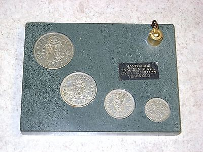 Collection Of 4 Older English Coins In Green Slate - 1950/57/58/65 - Cool Gift!