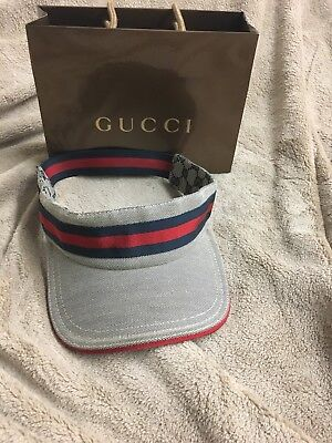 ec11ffd0 Gucci Logo VISOR Grey GG Fabric Red /blue Adjustable Tennis Sun Hat Unisex.