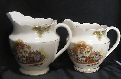 Two (2) Falcon Ware, Very Large Vintage English Jugs