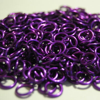 1000 Jump Rings 5/16 inch ID 14g AWG Chainmail Anodized Violet Purple