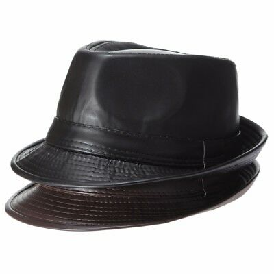 Men Faux Leather Fedora Trilby Dad Hats Gentleman Winter Church Panama Jazz Caps