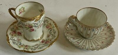 PJ.Pouyat LIMOGE Gold Roses Cup Saucer & Early Gold Rose Ribbed Cup Saucer EARLY