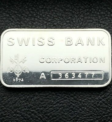 Swiss Bank Corporation 1 oz .999 Proof Silver Bar Ingot (1052-1)
