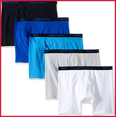 Fruit Of The Loom Big Boys' 5 Pack Breathable Boxer Brief Cotton Assorted Medium