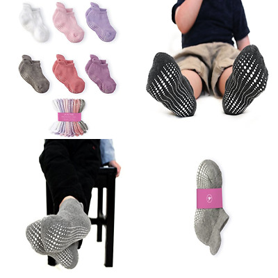 LA Active Baby Toddler Grip Ankle Socks 6 Pairs Non Slip/Skid Covered Girls