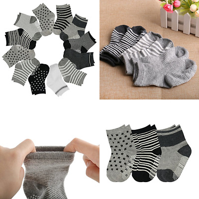 12 Pairs Toddler Socks Non Skid Anti Slip Knit Ankle Cotton Grip For 36 Month Ba
