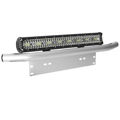 "23 inch Tri-row LED Light Bar + 23"" Number Plate Frame Mount Bracket 4X4 Silver"