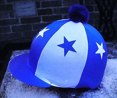 Lycra Hat Silk Skull cap Cover ROYAL BLUE & WHITE * STARS With OR w/o Pompom