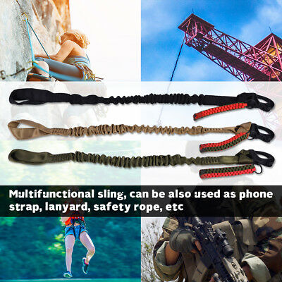 Carabiner Lanyard Retractable Safety Rope Elastic Climbing Tool Up to 65cm LJ