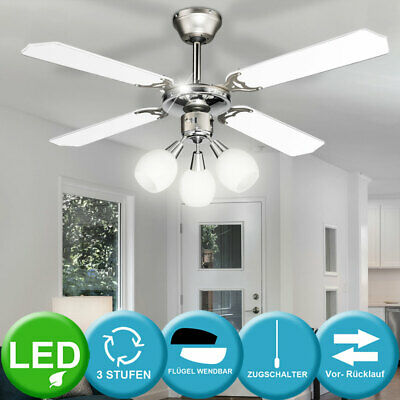 LED Design Ventilateur de plafond bureau éclairage vent Machine CHROM Vestibule